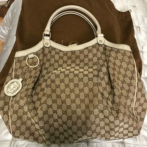 Authentic Gucci Sukey Canvas Leather Tote